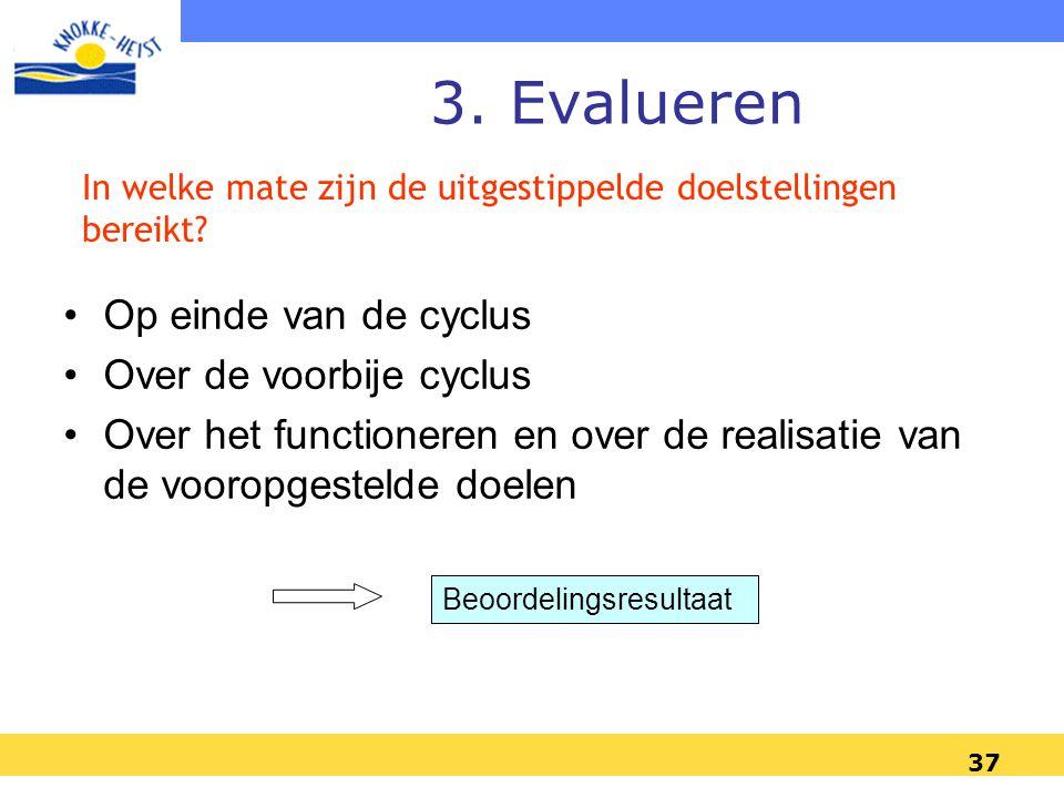 3. Evalueren Op einde van de cyclus Over de voorbije cyclus
