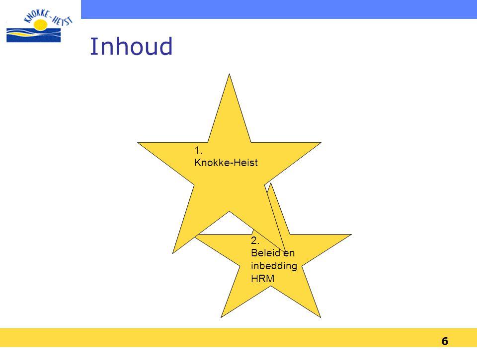 Inhoud 1. Knokke-Heist 2. Beleid en inbedding HRM