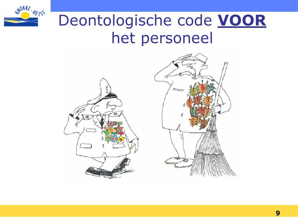 Deontologische code VOOR het personeel