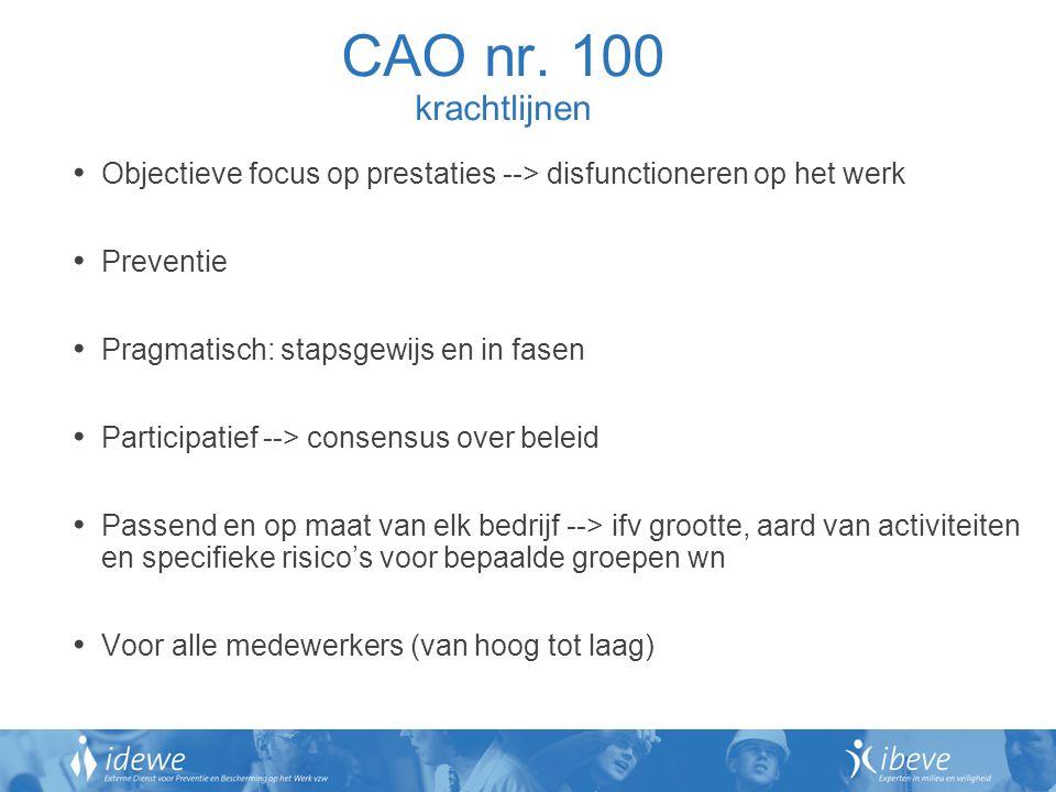 CAO nr. 100 krachtlijnen Objectieve focus op prestaties --> disfunctioneren op het werk. Preventie.