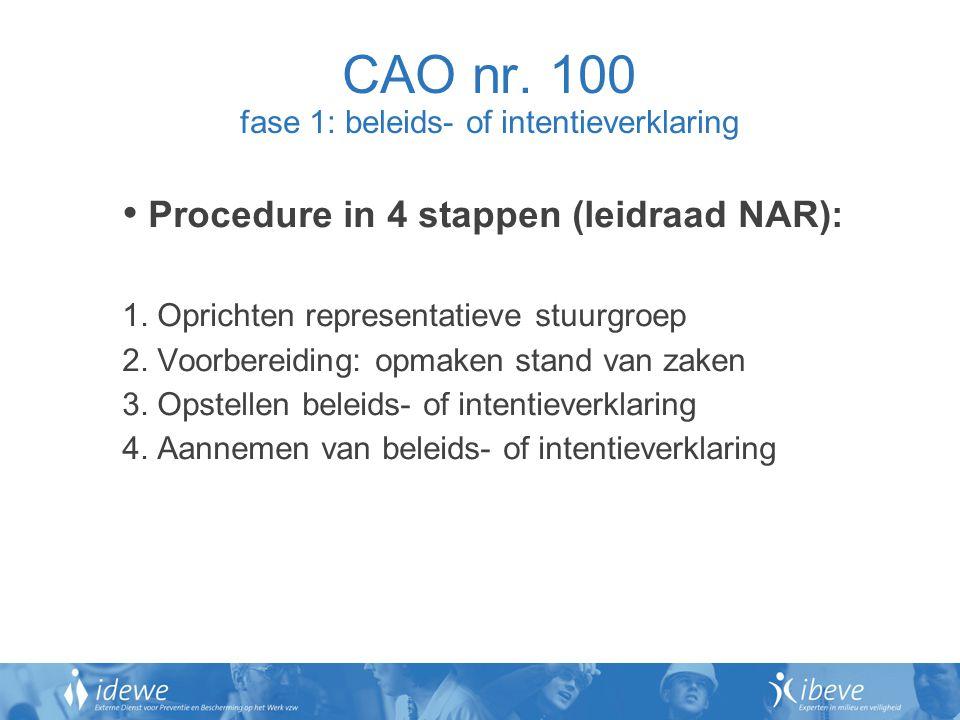 CAO nr. 100 fase 1: beleids- of intentieverklaring