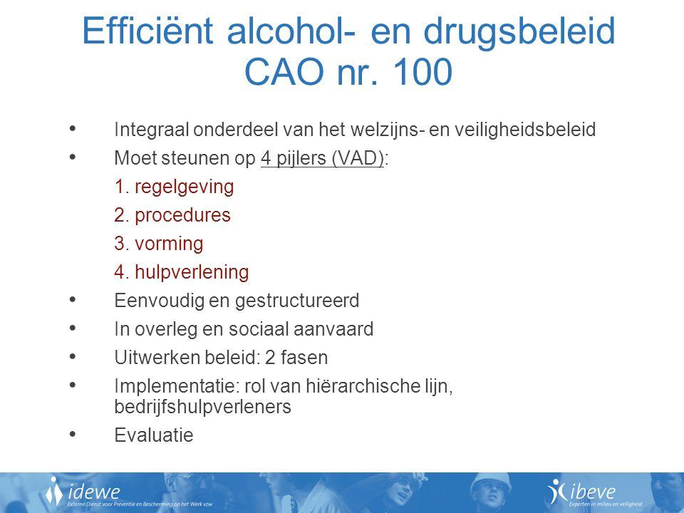 Efficiënt alcohol- en drugsbeleid CAO nr. 100