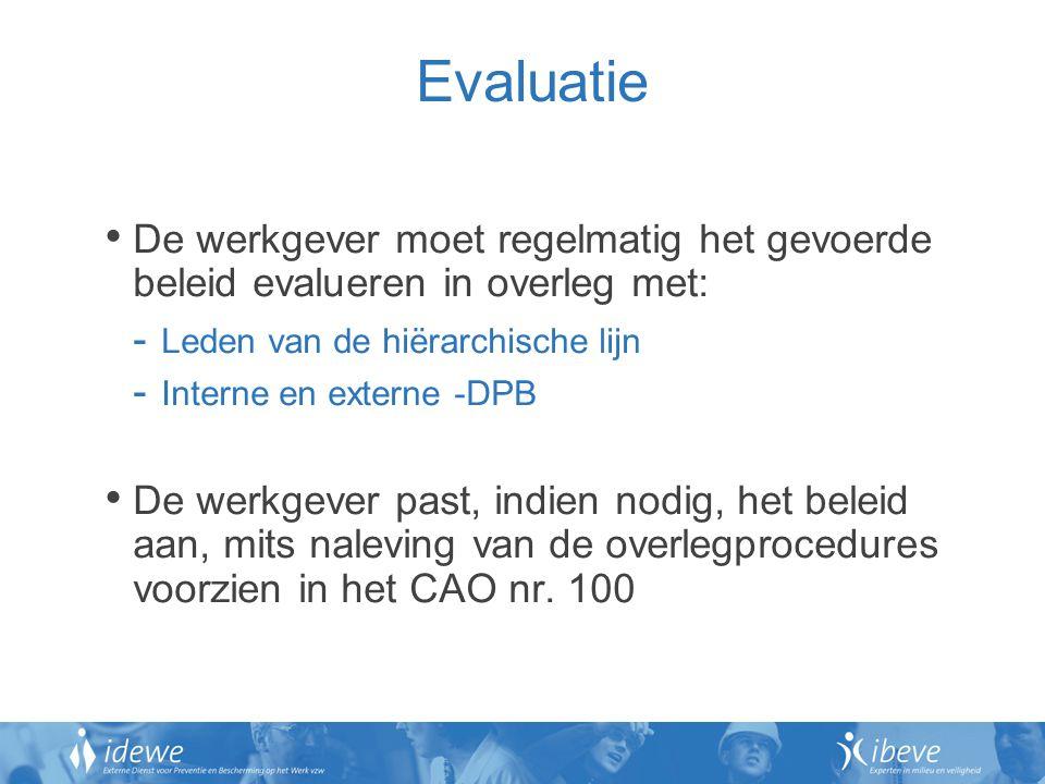 Evaluatie De werkgever moet regelmatig het gevoerde beleid evalueren in overleg met: Leden van de hiërarchische lijn.