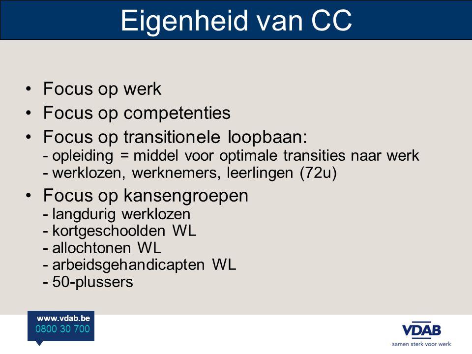 Eigenheid van CC Focus op werk Focus op competenties