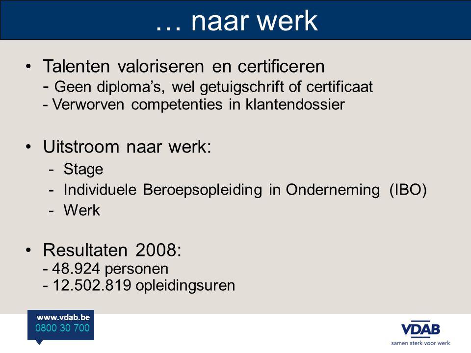 … naar werk Talenten valoriseren en certificeren - Geen diploma's, wel getuigschrift of certificaat - Verworven competenties in klantendossier.