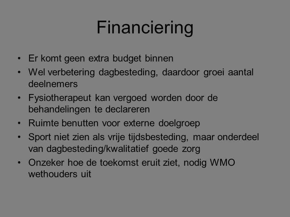 Financiering Er komt geen extra budget binnen