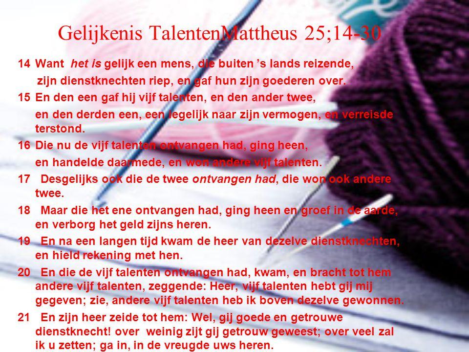 Gelijkenis TalentenMattheus 25;14-30