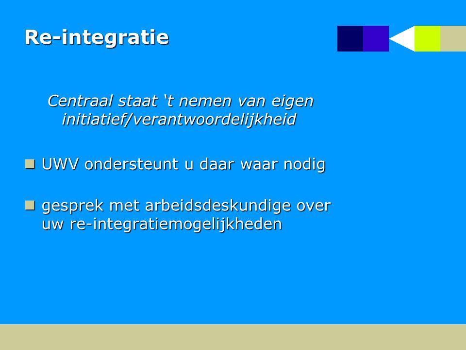 Re-integratie Centraal staat 't nemen van eigen initiatief/verantwoordelijkheid. UWV ondersteunt u daar waar nodig.