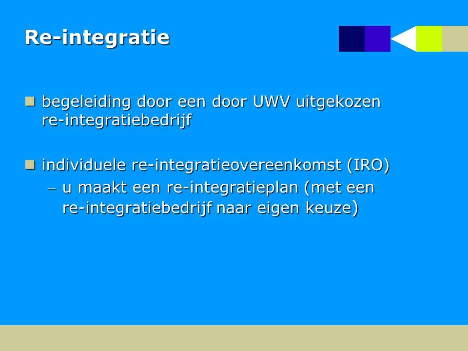 Re-integratie begeleiding door een door UWV uitgekozen re-integratiebedrijf. individuele re-integratieovereenkomst (IRO)