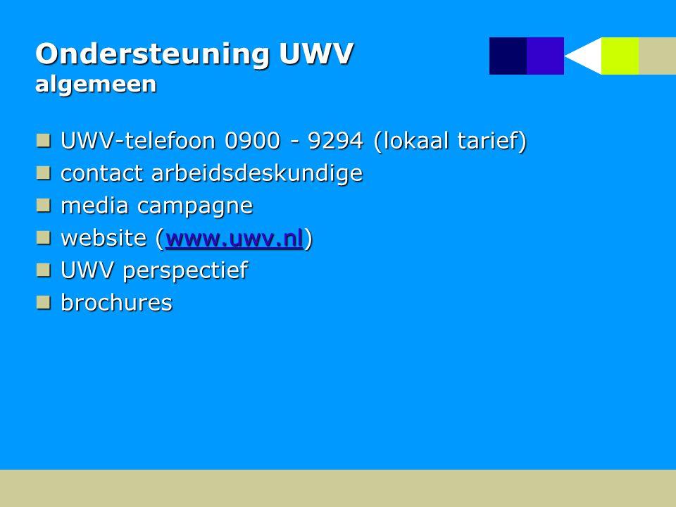 Ondersteuning UWV algemeen