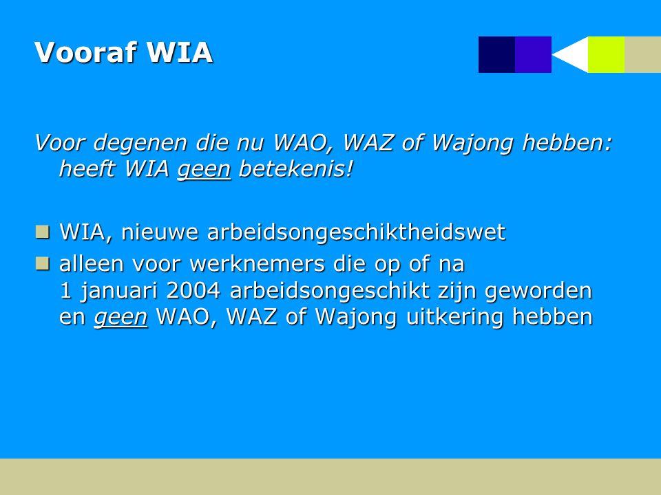 Vooraf WIA Voor degenen die nu WAO, WAZ of Wajong hebben: heeft WIA geen betekenis! WIA, nieuwe arbeidsongeschiktheidswet.