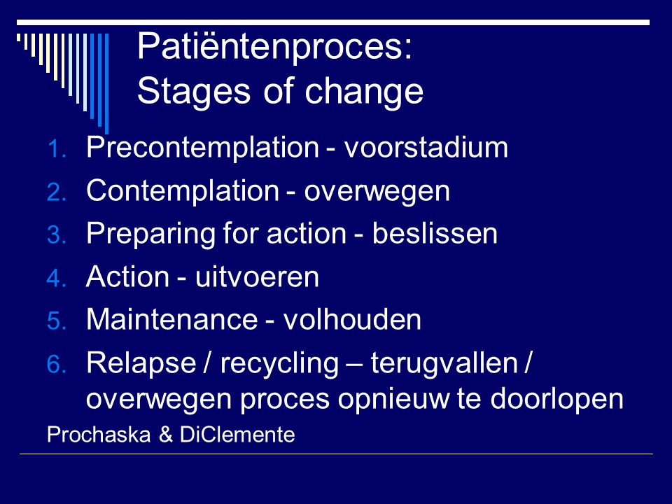 Patiëntenproces: Stages of change