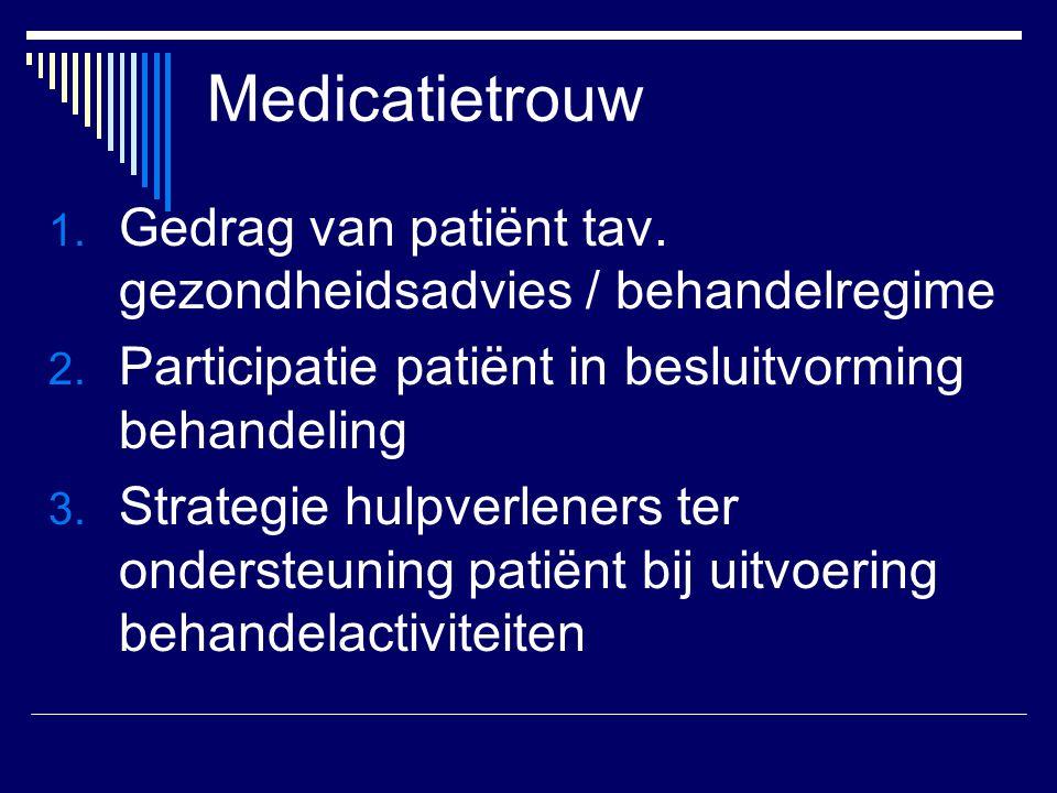 Medicatietrouw Gedrag van patiënt tav. gezondheidsadvies / behandelregime. Participatie patiënt in besluitvorming behandeling.
