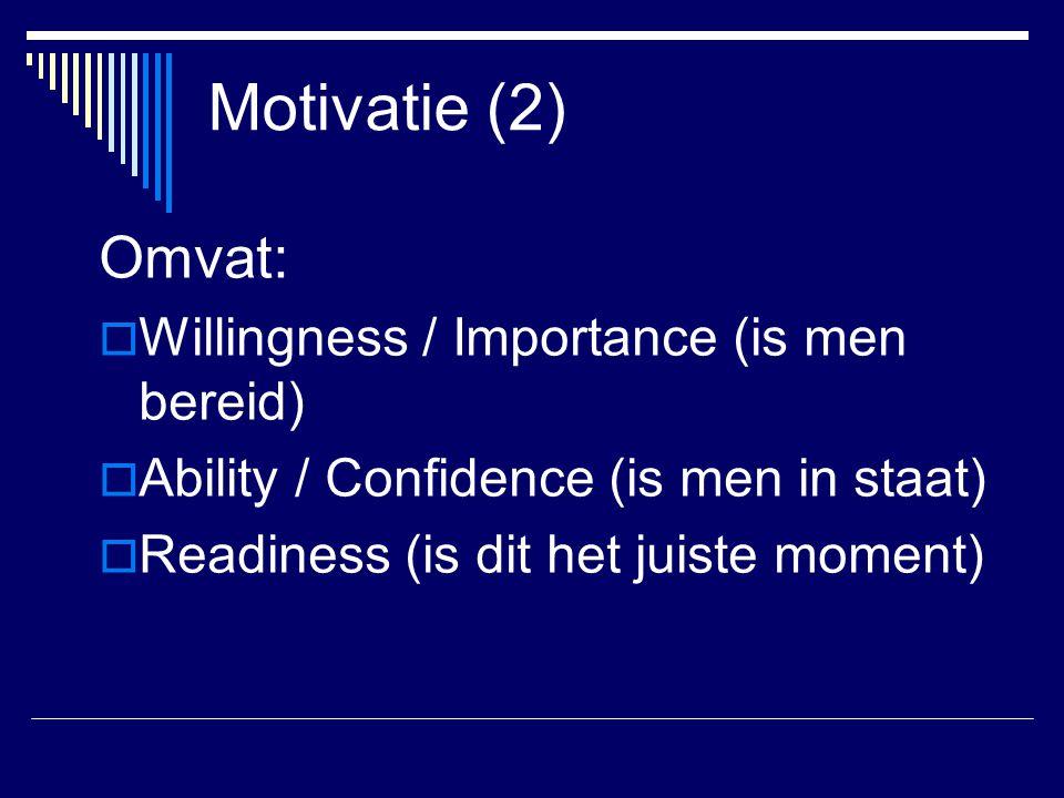 Motivatie (2) Omvat: Willingness / Importance (is men bereid)