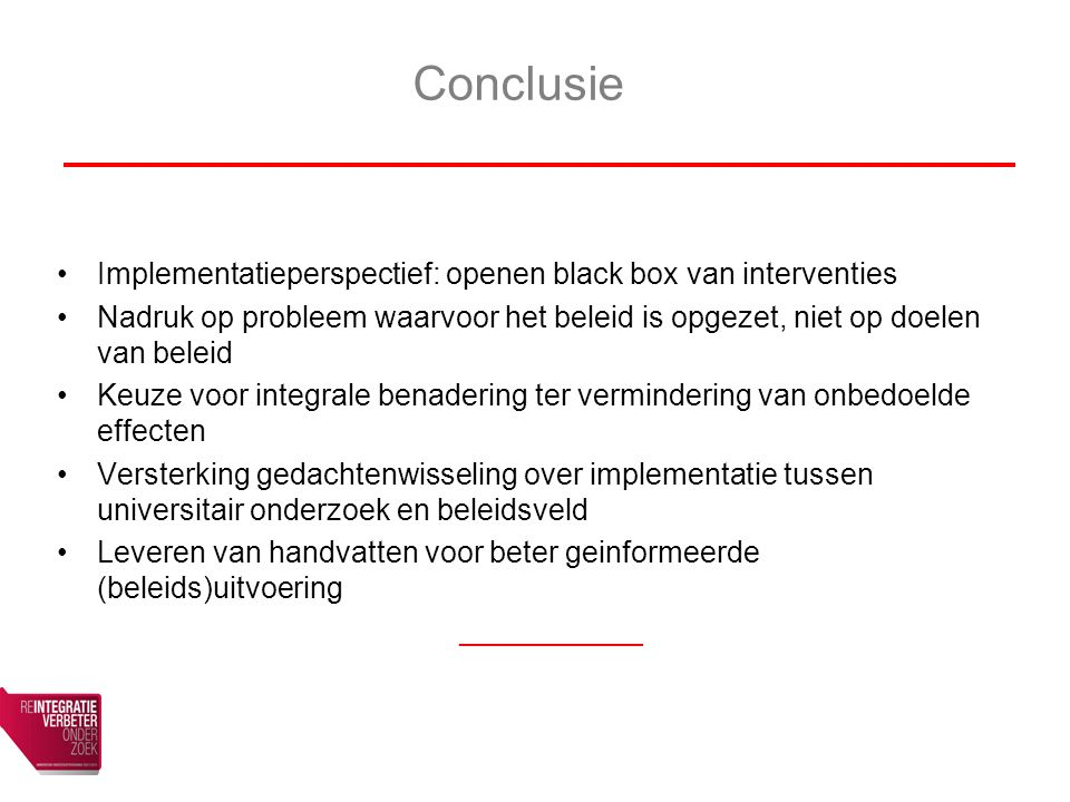 Conclusie Implementatieperspectief: openen black box van interventies