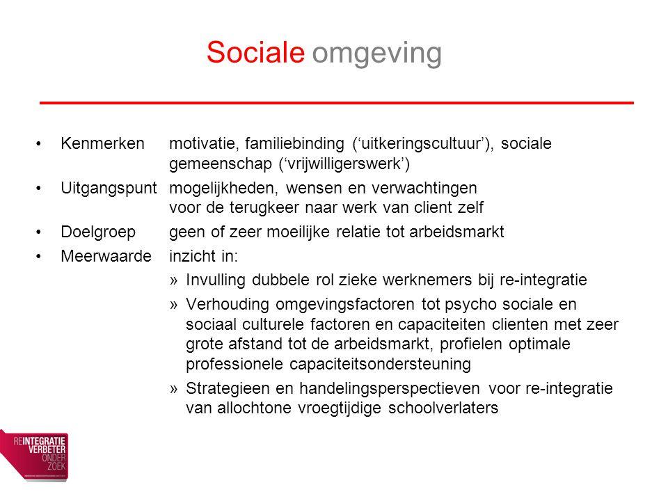 Sociale omgeving Kenmerken motivatie, familiebinding ('uitkeringscultuur'), sociale gemeenschap ('vrijwilligerswerk')