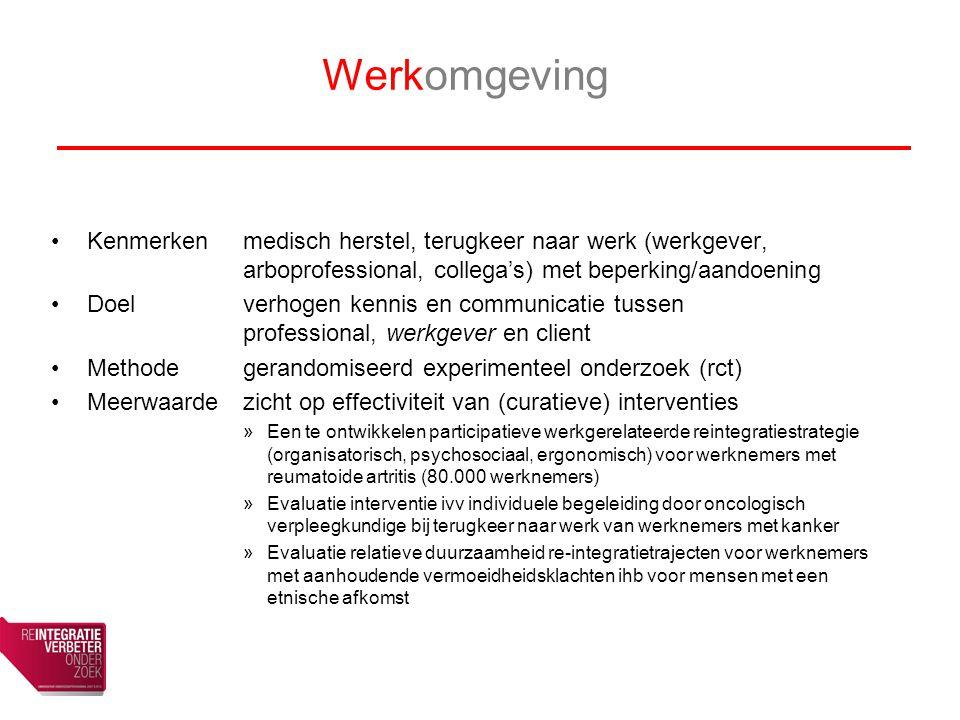 Werkomgeving Kenmerken medisch herstel, terugkeer naar werk (werkgever, arboprofessional, collega's) met beperking/aandoening.