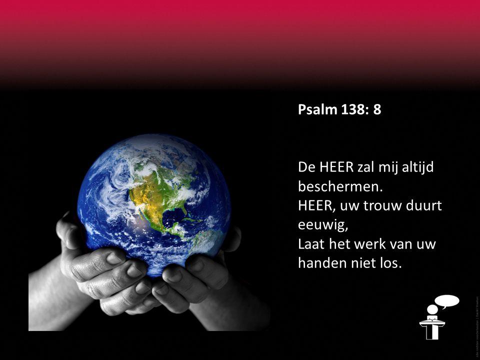 Psalm 138: 8 De HEER zal mij altijd beschermen.