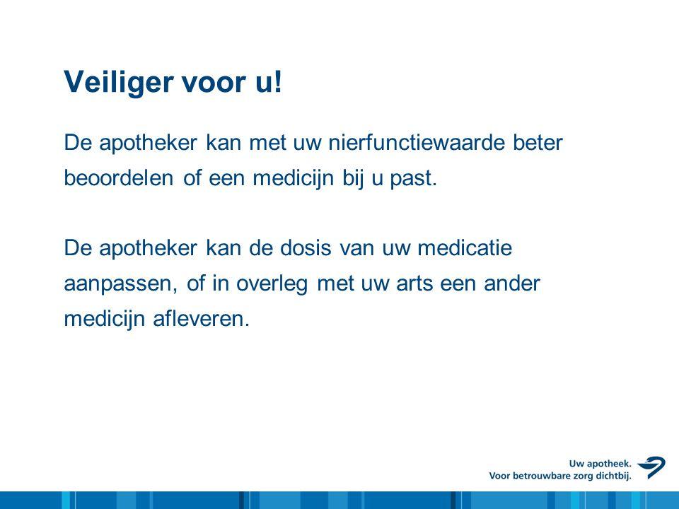 Veiliger voor u! De apotheker kan met uw nierfunctiewaarde beter