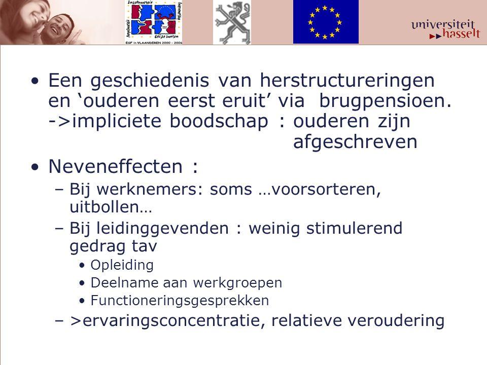 Een geschiedenis van herstructureringen en 'ouderen eerst eruit' via brugpensioen. ->impliciete boodschap : ouderen zijn afgeschreven