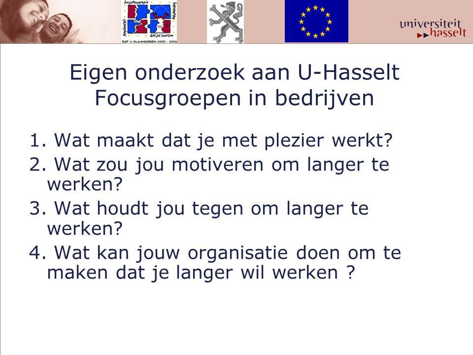 Eigen onderzoek aan U-Hasselt Focusgroepen in bedrijven