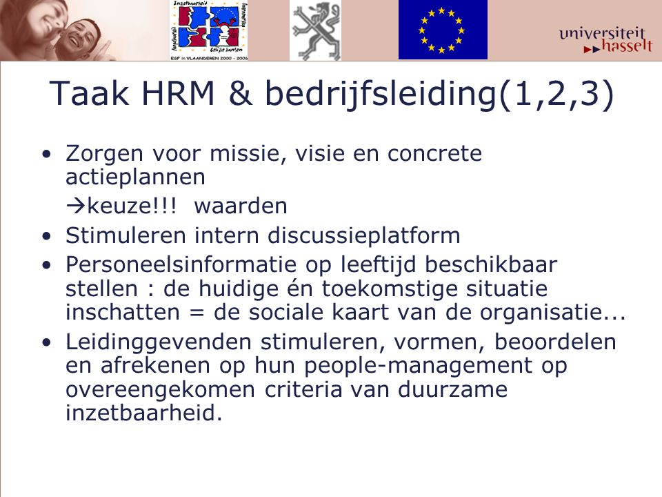 Taak HRM & bedrijfsleiding(1,2,3)