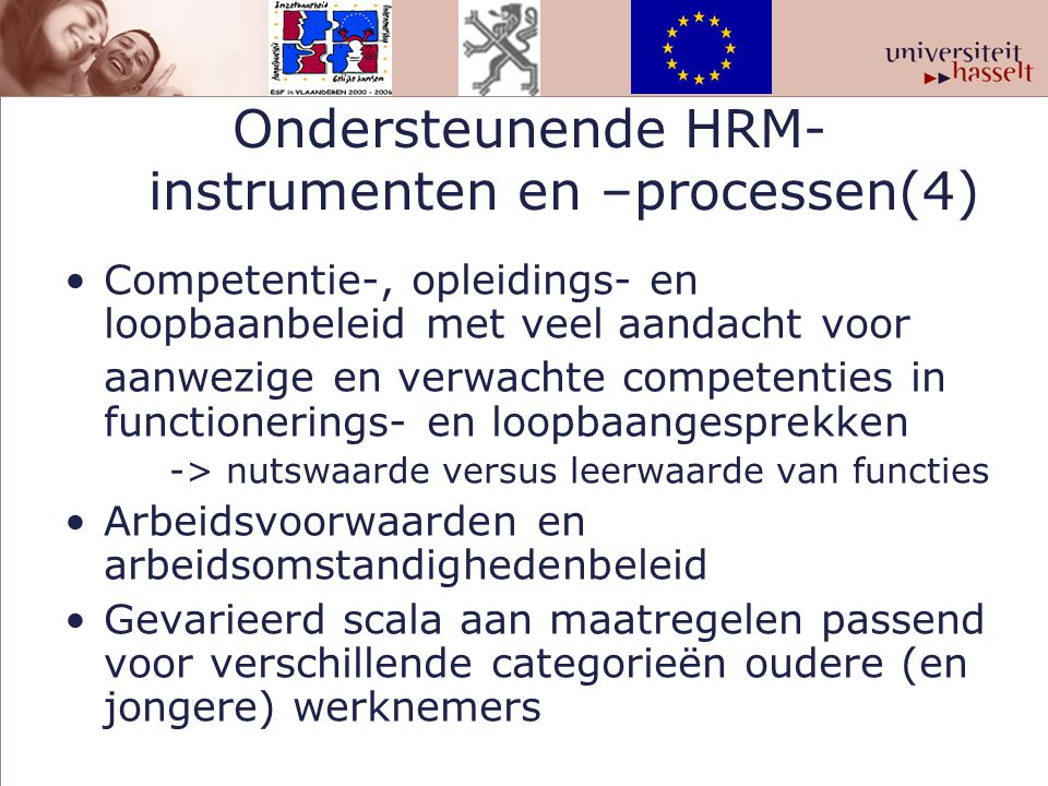 Ondersteunende HRM- instrumenten en –processen(4)