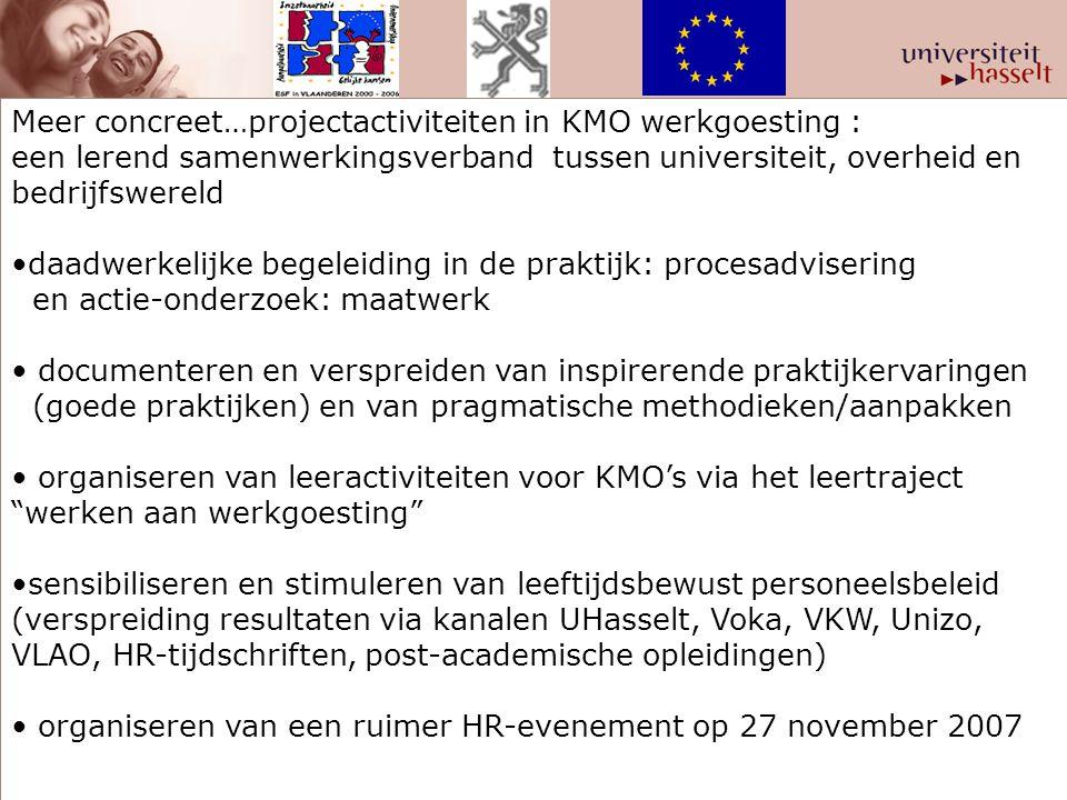 Meer concreet…projectactiviteiten in KMO werkgoesting :