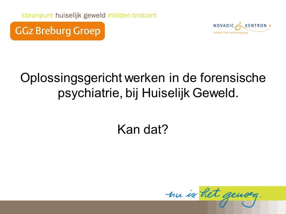 Oplossingsgericht werken in de forensische psychiatrie, bij Huiselijk Geweld.