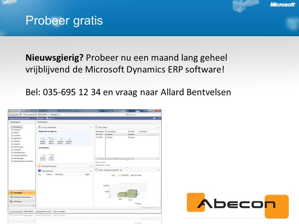 Probeer gratis Nieuwsgierig Probeer nu een maand lang geheel vrijblijvend de Microsoft Dynamics ERP software!