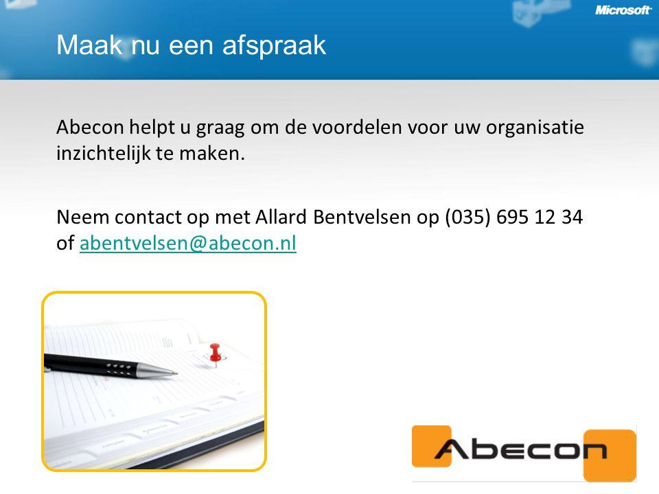 Maak nu een afspraak Abecon helpt u graag om de voordelen voor uw organisatie inzichtelijk te maken.