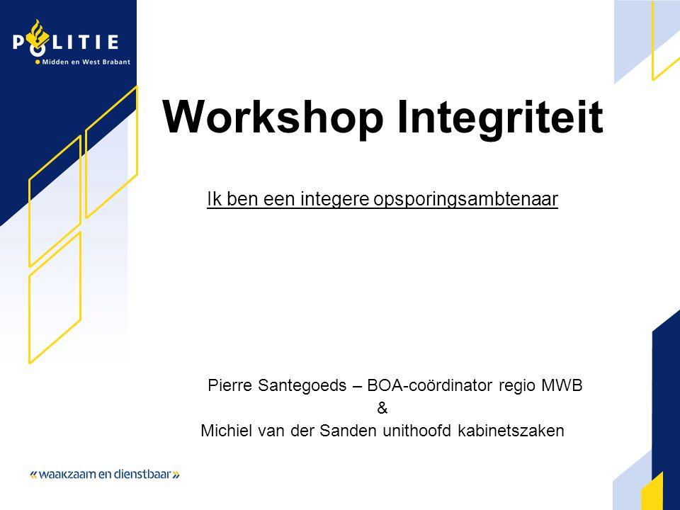 Workshop Integriteit Ik ben een integere opsporingsambtenaar