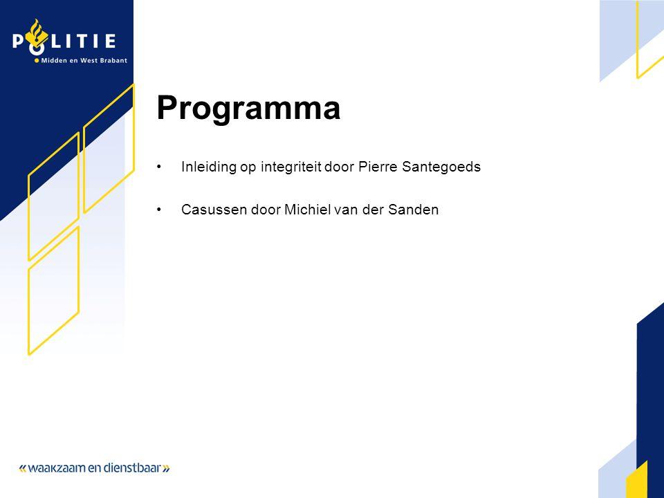 Programma Inleiding op integriteit door Pierre Santegoeds