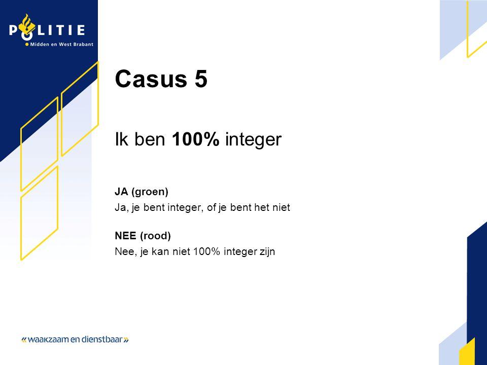 Casus 5 Ik ben 100% integer JA (groen)