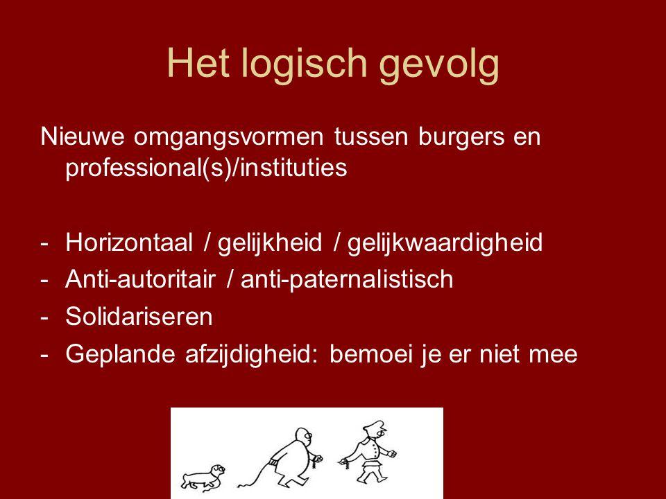 Het logisch gevolg Nieuwe omgangsvormen tussen burgers en professional(s)/instituties. Horizontaal / gelijkheid / gelijkwaardigheid.