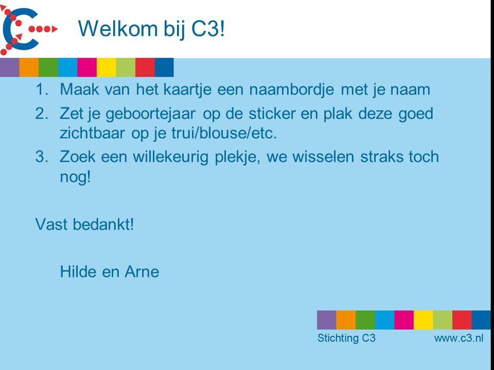 Welkom bij C3! Maak van het kaartje een naambordje met je naam