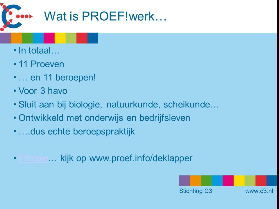Wat is PROEF!werk… In totaal… 11 Proeven … en 11 beroepen! Voor 3 havo