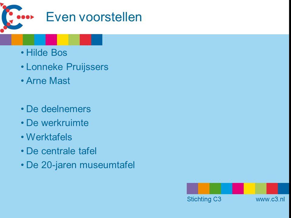Even voorstellen Hilde Bos Lonneke Pruijssers Arne Mast De deelnemers