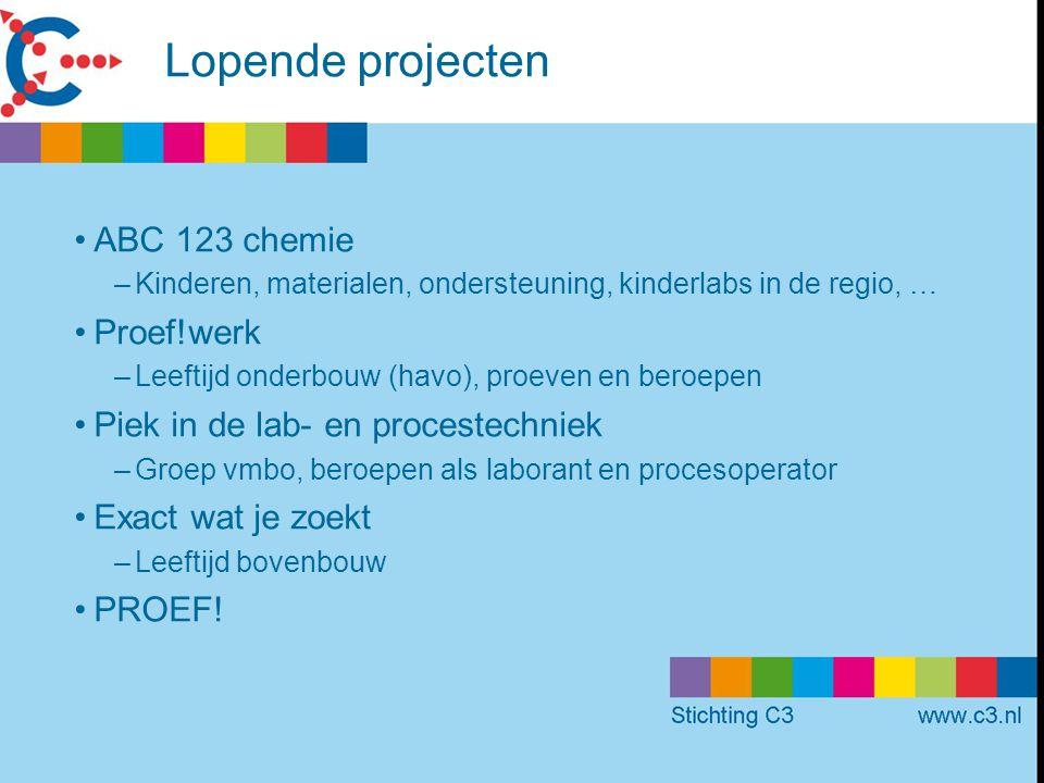 Lopende projecten ABC 123 chemie Proef!werk