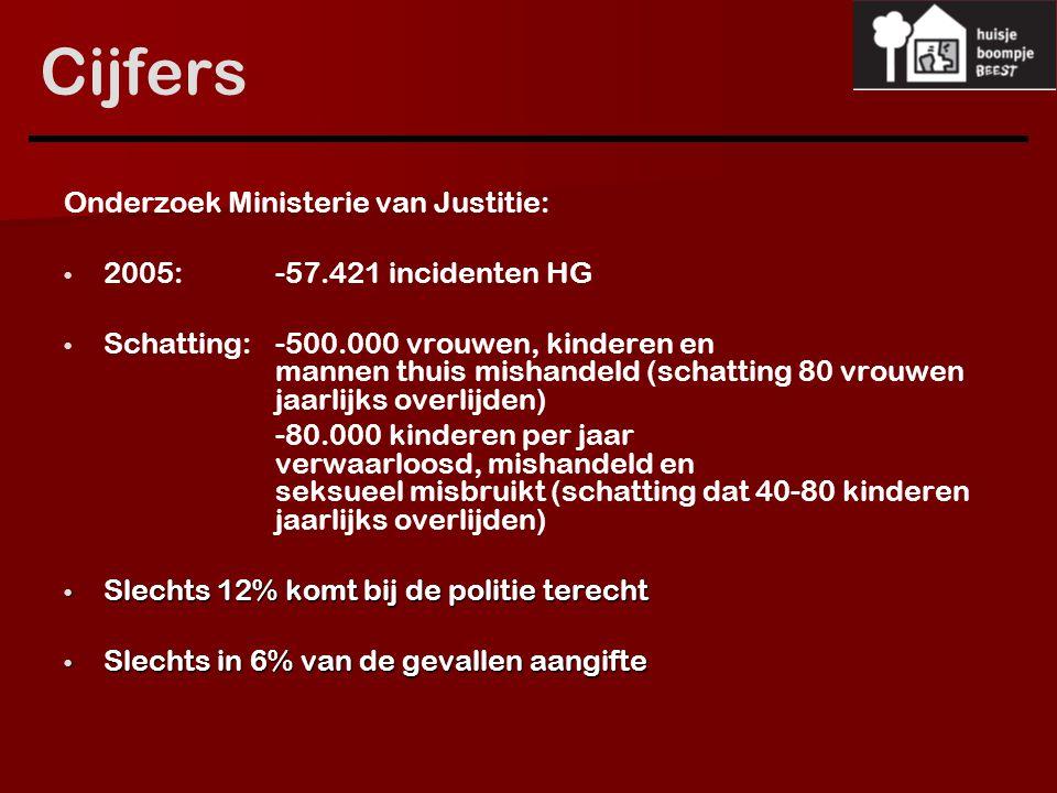 Cijfers Onderzoek Ministerie van Justitie: 2005: -57.421 incidenten HG