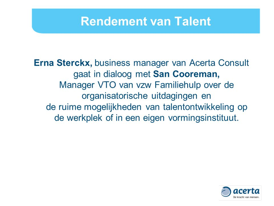 Rendement van Talent