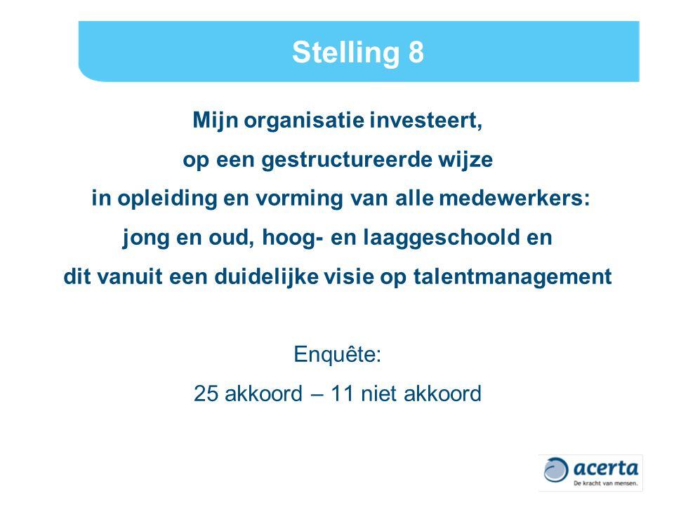 Stelling 8 Mijn organisatie investeert, op een gestructureerde wijze