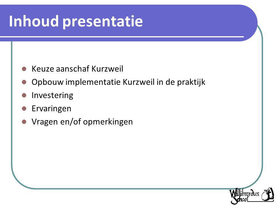 Inhoud presentatie Keuze aanschaf Kurzweil
