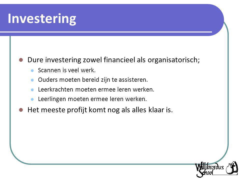 Investering Dure investering zowel financieel als organisatorisch;