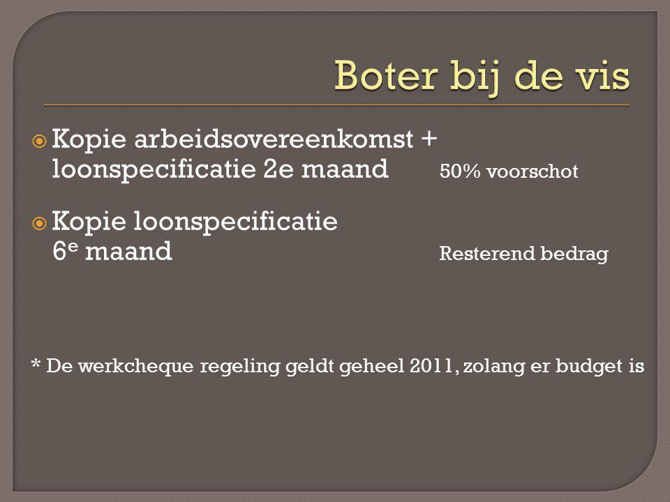 Boter bij de vis Kopie arbeidsovereenkomst + loonspecificatie 2e maand 50% voorschot. Kopie loonspecificatie.