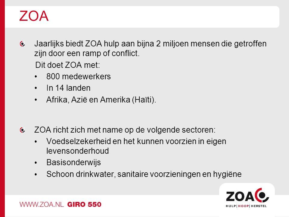 ZOA Jaarlijks biedt ZOA hulp aan bijna 2 miljoen mensen die getroffen zijn door een ramp of conflict.