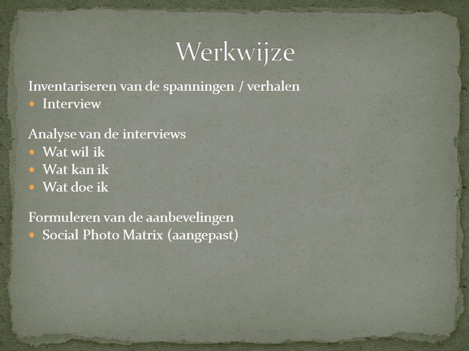 Werkwijze Inventariseren van de spanningen / verhalen Interview