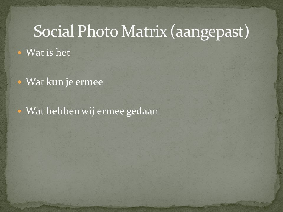 Social Photo Matrix (aangepast)