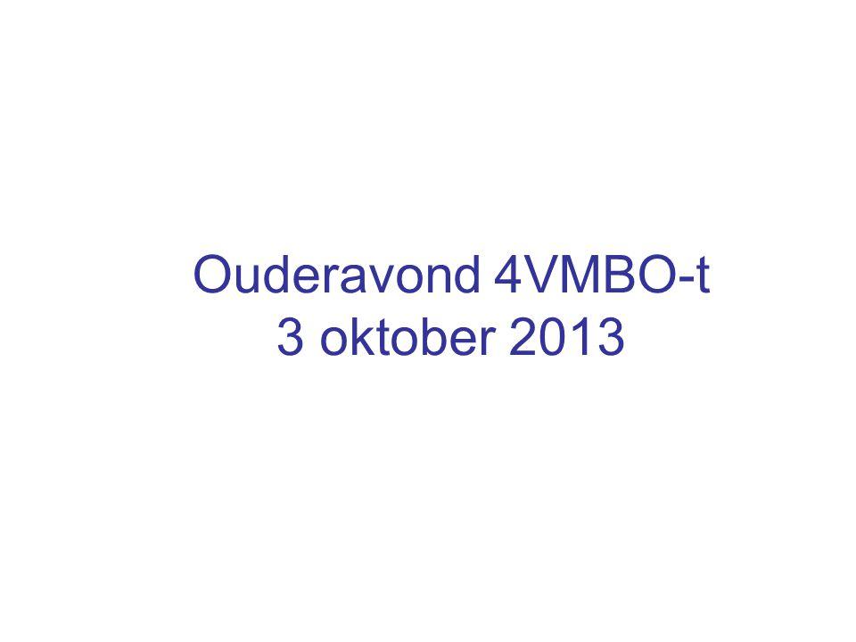 Ouderavond 4VMBO-t 3 oktober 2013