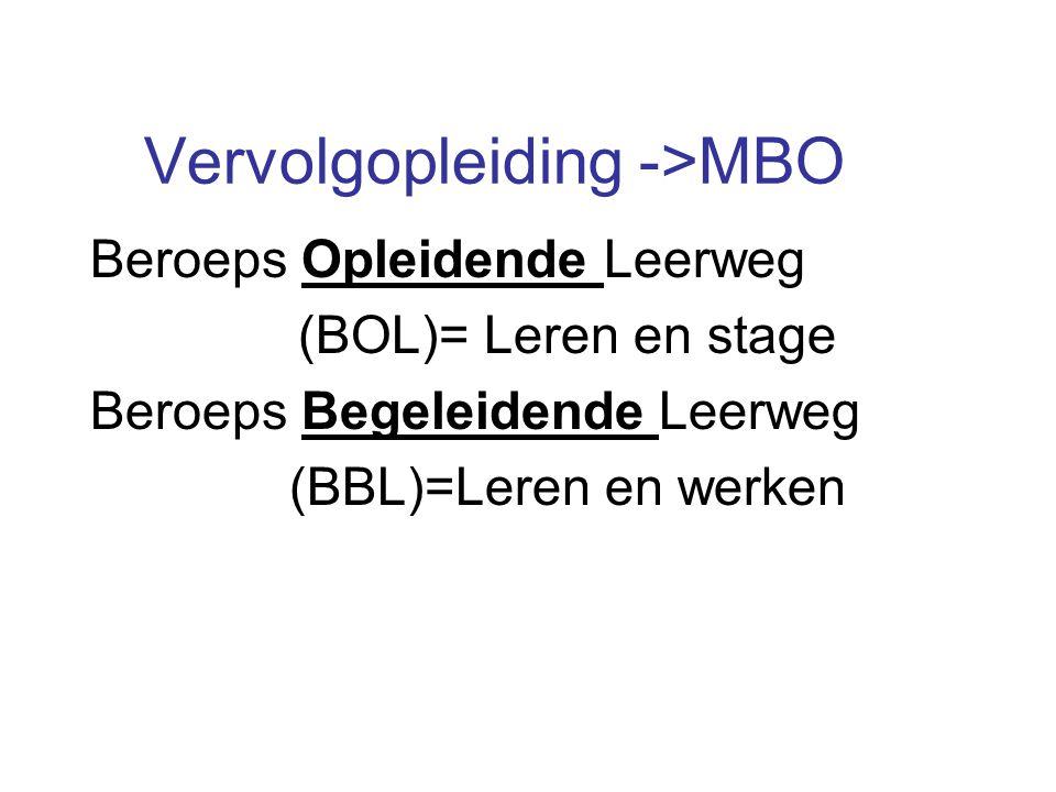 Vervolgopleiding ->MBO